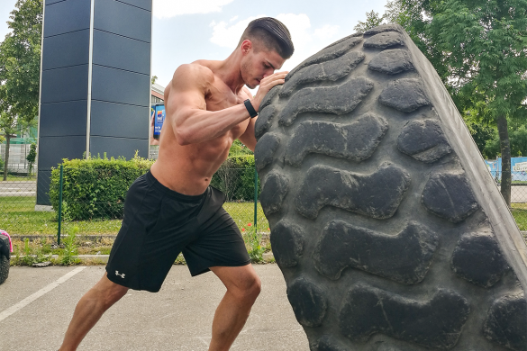 functional workout with tractor tires